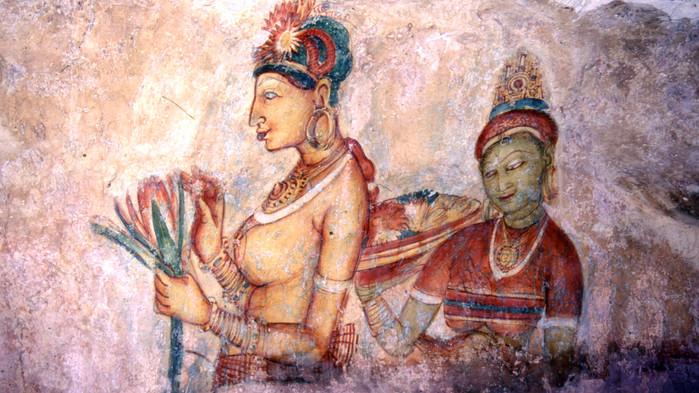 Väggmålning i Sigiriya