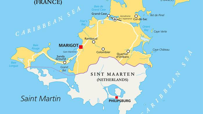 Saint Martin är sedan år 1648 delad i en fransk och en nederländsk del. Den internationella flygplatsen Princess Juliana Airport ligger vid staden Philipsburg på den nederländska sidan.